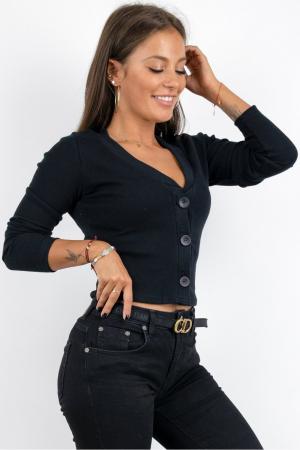Bluza casual de dama din bumbac tetra accesorizata cu nasturi negru 9480 [0]