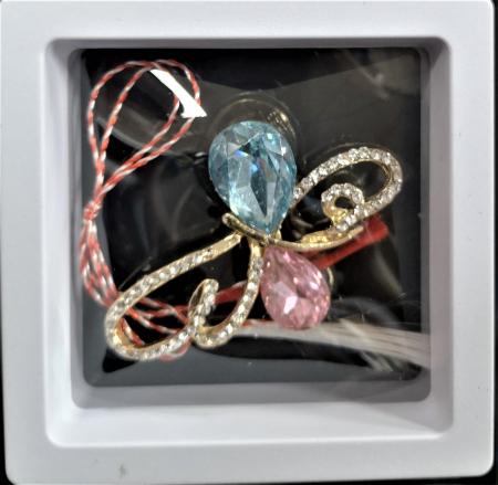 Broșă cu model Fluture cu pietre rose-aquamarine0