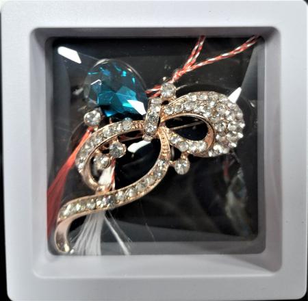 Broșă fundita mare cu pietricele turquoise0