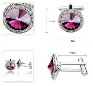 Butoni ROTUNZI purple cu cristale2