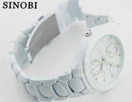 Ceas mic Original SINOBI PREMIUM alb cu bratara din ceramica1