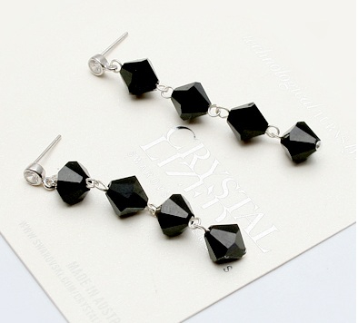 PROMO Set 3 Cercei cristale STAR Black Diamond cu reflexii, placati cu aur 18k [3]
