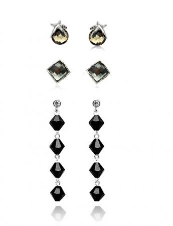 PROMO Set 3 Cercei cristale STAR Black Diamond cu reflexii, placati cu aur 18k [0]