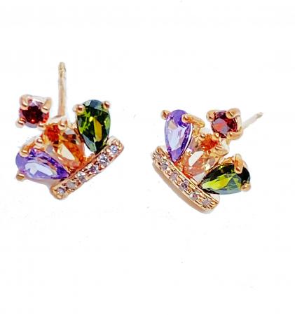 Cercei REGAL CROWN cu cristale multicolor, placati cu aur 18k [0]
