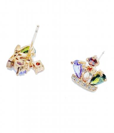 Cercei REGAL CROWN cu cristale multicolor, placati cu aur 18k [1]