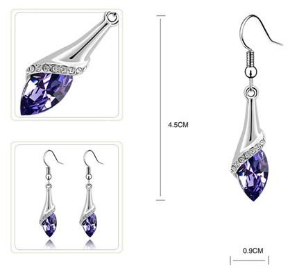 Cercei water drop violet inchis cu cristale1