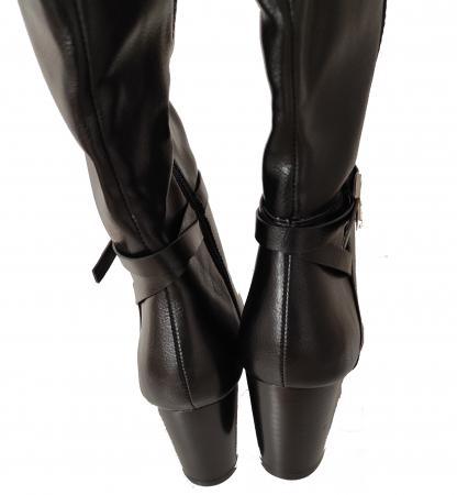 Cizme blanite de dama cu toc inalte, maro sau negre3
