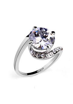 Inel Clasic White diametru 19 cm cu cristale Swarovski placat cu aur 18k0