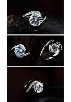 Inel Clasic White diametru 19 cm cu cristale Swarovski placat cu aur 18k1
