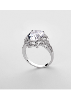 Inel KARINA White diametru 18 cm cu cristale Swarovski placat cu aur 18k0