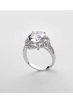 Inel KARINA White diametru 19 cm cu cristale Swarovski placat cu aur 18k0