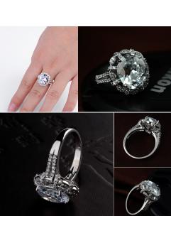 Inel KARINA White diametru 19 cm cu cristale Swarovski placat cu aur 18k1