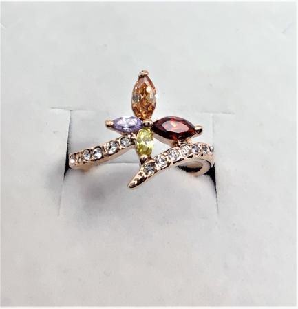 Inel Regal Drop multicolor diametru 16cm cu cristale, placat cu aur 18k [1]