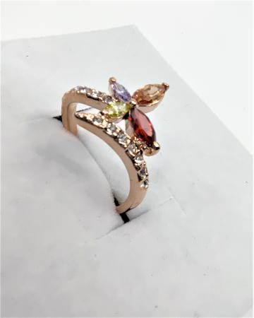 Inel Regal Drop multicolor diametru 16cm cu cristale, placat cu aur 18k [2]