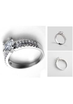 Inel Regal White diametru 18cm cu cristale placat cu aur 18k [1]
