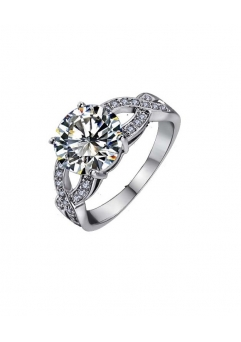Inel Beautifull White diametru 17 cm cu cristale placat cu aur 18k [1]
