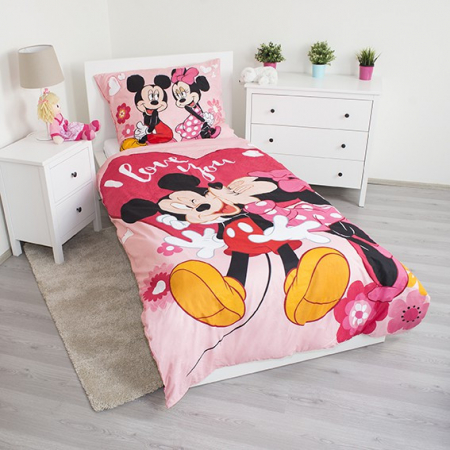Lenjerie de pat licenta Disney Minnie I love you marime 140×200 cm, 70×90 cm JFK0184151