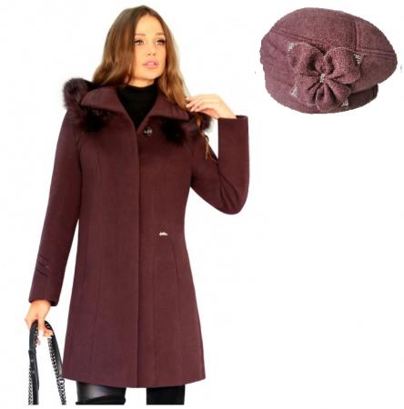 PACHET  Palton elegant din stofa OLGA+Caciula rafinata de dama Ema din angora0