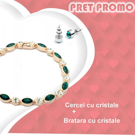 Pachet PROMO Bratara cu cristale si cercei asortati, placate cu aur 18K, colectie speciala ValentineS Day VD04
