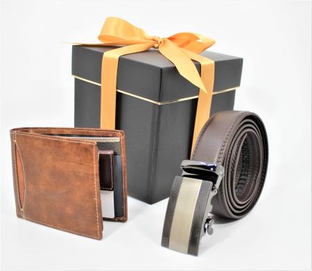 Pachet Promo Curea de barbati 120cm, automata, maro inchis N523.4  si Portofel de piele