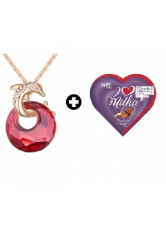 Colier Delfin Red cu cristale Swarovski + Cutie bomboane Milka0