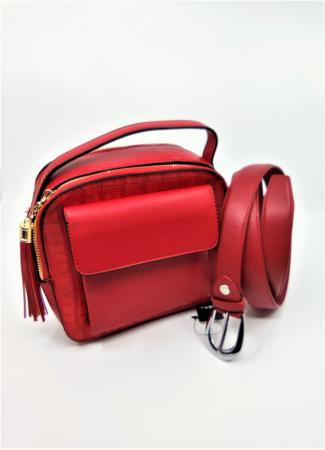 Pachet Promo Geanta casual H601 si curea rosie din piele ecologica [0]