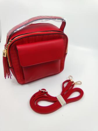 Pachet Promo Geanta casual H601 si curea rosie din piele ecologica [2]