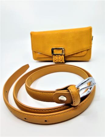 Pachet Promo portofel de dama mustar  A151Y si curea din piele ecologica Y115P88.2 [1]