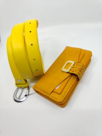 Pachet Promo portofel de dama mustar  A151Y si curea galbena  din piele ecologica Y115P88.22 [1]