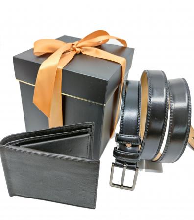 Pachet Promo Portofel de piele si Curea de barbati 135cm, negru lucios, C135N-LY1925-P1373 [0]