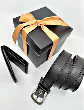 Pachet Promo Portofel de piele si Curea de barbati 130cm, negru, C130NG-LY0577-P1373 [1]