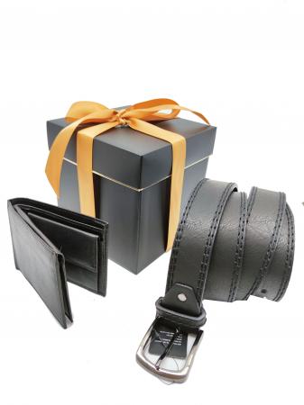 Pachet Promo Portofel de piele si Curea de barbati 130cm, negru, C130NG-LY0577-P1373 [0]