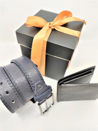 Pachet Promo Portofel de piele si Curea de barbati 135cm, negru, C135BLM-A391-P1373 [1]