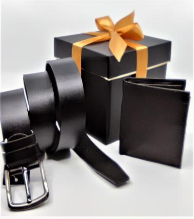 Pachet Promo Portofel de piele si Curea de barbati 135cm, negru, C135NG-LY0577 [0]