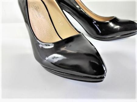 Pantofi stiletto negri de lac,cu toc mediu din piele ecologica4