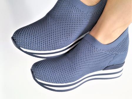 Pantofi sport de dama  albastri cu platforma H01122