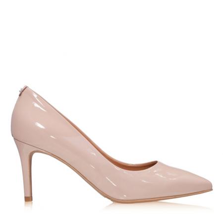 Pantofi stiletto nude de lac,cu toc mediu din piele ecologica0