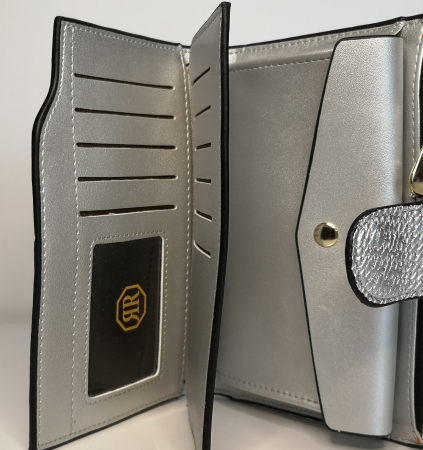 Portofel de dama din piele ecologica AB2035M silver1