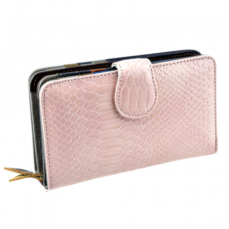Portofel roz, de dama, din piele naturala, AG9625-280