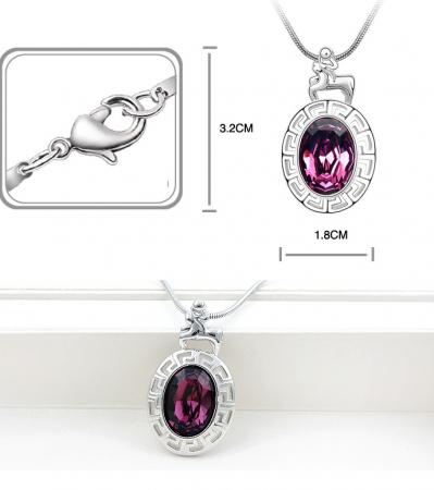 Colier Horoscop - Capricorn purple cu cristale si placat cu aur [1]