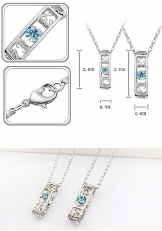 PROMO Set coliere cuplu EL si EA, cu cristale aquamarine, placate cu cu aur 18k [1]