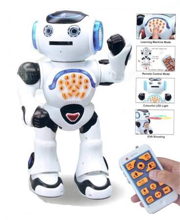Robot Inteligent Alb  cu Telecomanda, danseaza, canta, arunca discuri, actionare si de pe telefon1