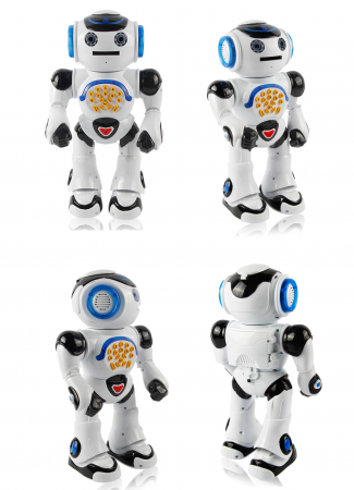 Robot Inteligent Alb  cu Telecomanda, danseaza, canta, arunca discuri, actionare si de pe telefon2