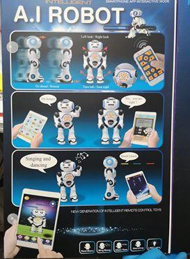 Robot Inteligent Alb  cu Telecomanda, danseaza, canta, arunca discuri, actionare si de pe telefon3