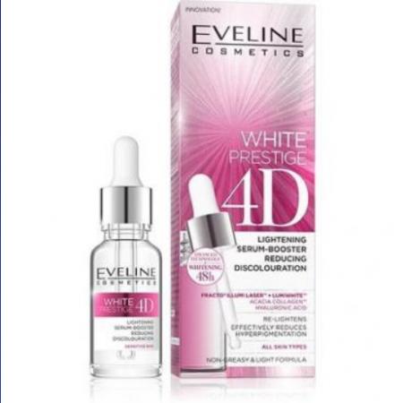 Ser pentru fata White Prestige 4D, Eveline Cosmetics, 18ml, umineaza pielea