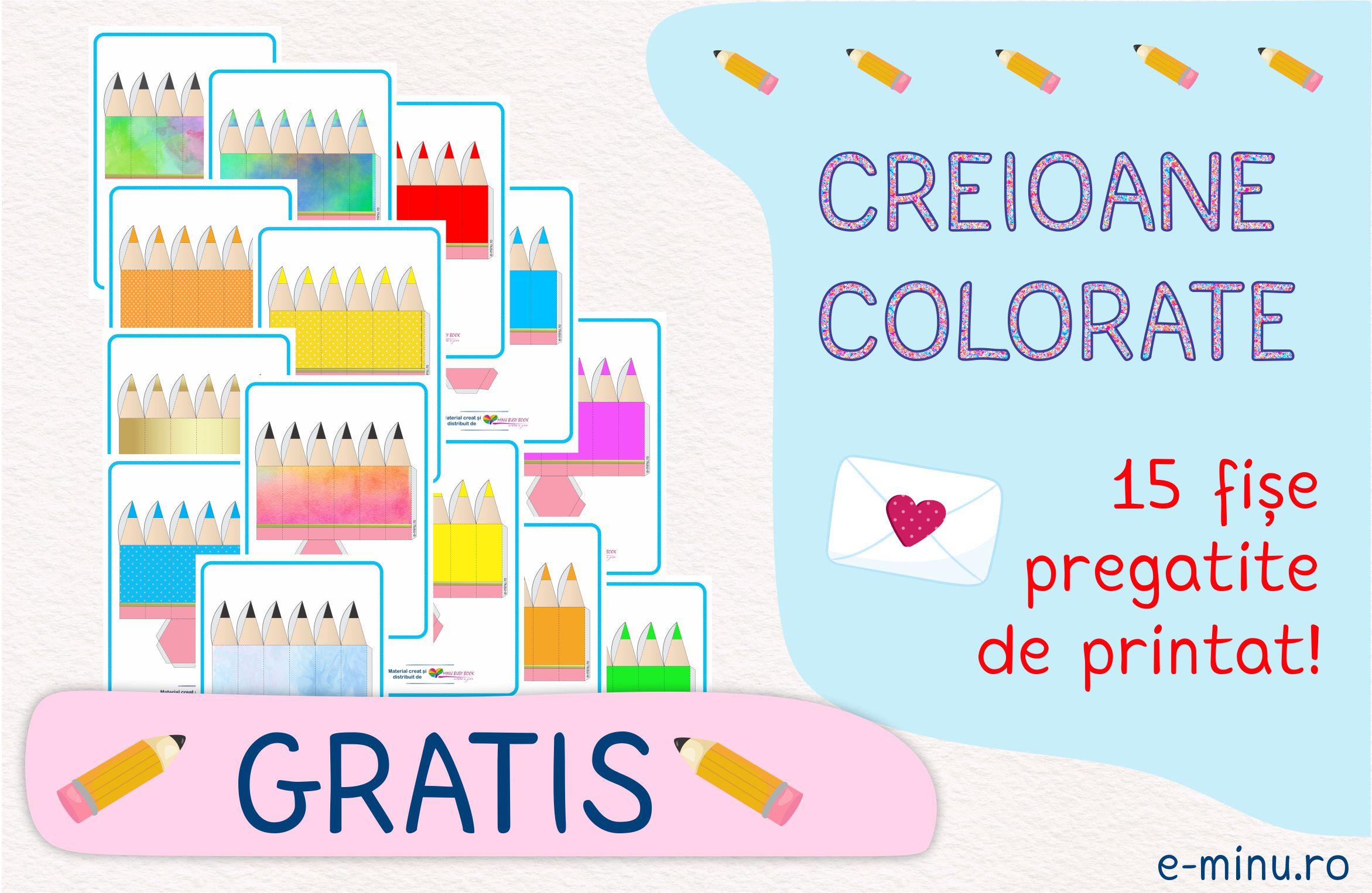 Creioane colorate - fise pentru craft