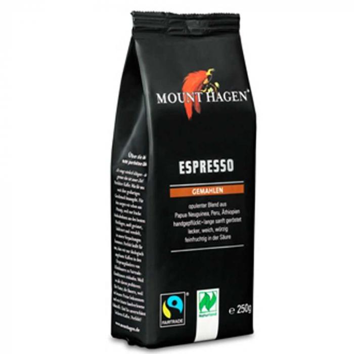 Cafea Bio Espresso prajita si macinata Mount Hagen, 250g [0]