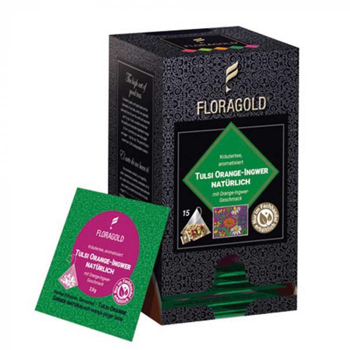 Ceai de Plante Natural cu Tulsi, Portocala si Ghimbir Floragold, 15 piramide [0]