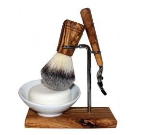 Set de barbierit cu suport din lemn de maslin, pamatuf, aparat de ras  Gilette Mach 3 si sapun Tanamera [0]