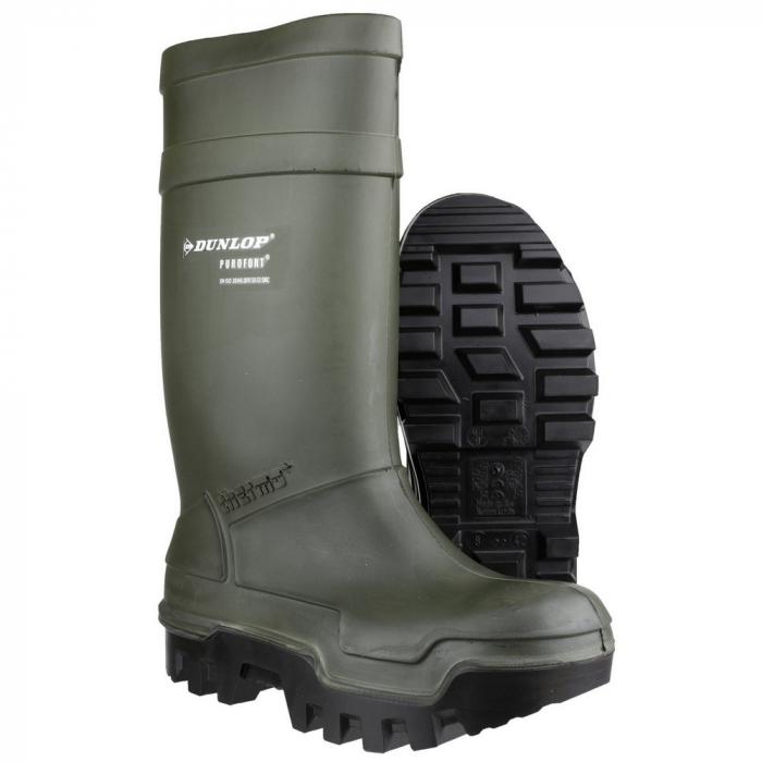 Cizme de protectie Dunlop PUROFORT TERMO GREEN S5 CI -50°C, cu bombeu metalic si lamela 0